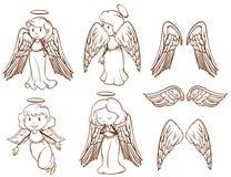 Prości nakreślenia aniołowie i ich skrzydła ilustracja wektor