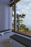 Prości nowożytni pokojów krzesła i widok outside okno Otwarta natura royalty ilustracja