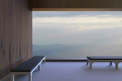 Prości nowożytni pokoje, krzesła i widok na zewnątrz okno w ranku i widzią góry i niebo w ranku dur royalty ilustracja