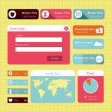 Prości płascy nowożytni UI projekta strony internetowej elementy Zdjęcia Royalty Free
