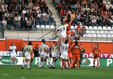 Pro allumette RCNM du rugby D2 contre Stade Montois Image libre de droits
