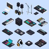 Pro Audio Gear Icons. Music recording studio equipment isometric icons set with isolated images of professional audio devices speakers keyboards vector vector illustration