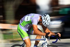 Pro Bicycling on road race Royalty Free Stock Image