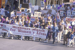 Pro-choice marchers holding banner at State Capitol Building, Missouri Stock Photos
