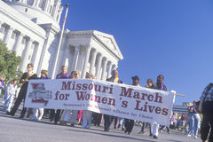 Pro-choice marchers holding banner at State Capitol Building, Missouri Stock Image