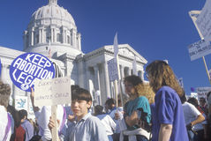 Pro-choice marchers holding signs,. Missouri Stock Photos