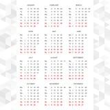 Prości 2015 kalendarzowych wektorowych horyzontalni Zdjęcie Stock