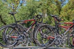Pro Cirkelend Team Bikes Stock Afbeelding