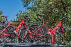 Pro Cirkelend Team Bikes Royalty-vrije Stock Afbeelding