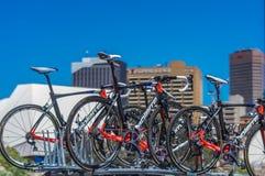 Pro Cirkelend Team Bikes Stock Afbeeldingen