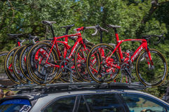 Pro Cirkelend Team Bikes Royalty-vrije Stock Afbeeldingen