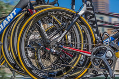 Pro Cirkelend Team Bikes Royalty-vrije Stock Foto's
