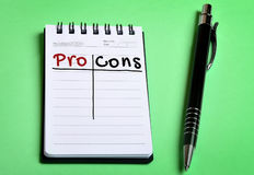 Pro Cons word. On notepad Royalty Free Stock Photos