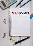 Pro Cons word. Writting on paper Royalty Free Stock Image