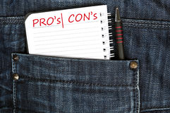 Pro and contra message Stock Image