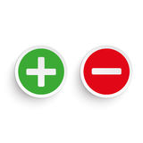 Pro Contra. Pro and contra round icons on the white background Royalty Free Stock Images