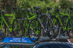 Pro Cycling Team Bikes Stock Image