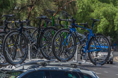 Pro Cycling Team Bikes Royalty Free Stock Photography