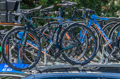 Pro Cycling Team Bikes Royalty Free Stock Photos