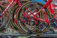 Pro Cycling Team Bikes. Adelaide Australia January 24 2016 The Santos Tour Down Under pro team bikes cars follow the race at the same speeds Stock Photography