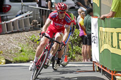 Pro Cyclist Leads Pack at Stillwater Stock Image