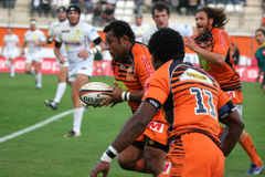 Pro D2 rugby match RCNM vs Stade Montois Stock Images
