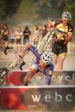 Pro Damian Schmitt tombe en panne Cyclocross pro Images libres de droits