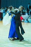 Pro-Am Dance Couple Performs Pro-Am Super Cup International European Standard Program Royalty Free Stock Photo