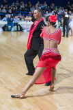 Pro-Am Dance Couple Performs Pro-Am Super Cup International Latin Program on WDSF Minsk Open Dance Festival-2017 Stock Photography