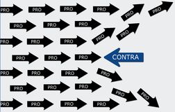 Pro e contra a concepção Imagem de Stock