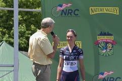 Pro entrevue de cycliste chez Stillwater Images libres de droits
