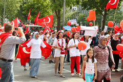 Pro Erdogan demonstration in Munich, Germany. MUNICH, GERMANY - JULY 6, 2013:  People of turkish origin came to a demonstration to support Prime Minister of Royalty Free Stock Images