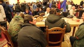 Pro-EU rallies. UKRAINE, KIEV, DECEMBER 1, 2013: Pro-EU rallies in Ukrainian capital Kiev after government called off EU deal. Ukrainian protesters inside of stock video