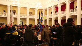 Pro-EU rallies. UKRAINE, KIEV, DECEMBER 1, 2013: Pro-EU rallies in Ukrainian capital Kiev after government called off EU deal. Ukrainian protesters inside of stock video footage