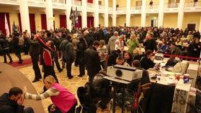 Pro-EU rallies. UKRAINE, KIEV, DECEMBER 1, 2013: Pro-EU rallies in Ukrainian capital Kiev after government called off EU deal. Ukrainian protesters inside of stock footage