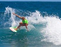 Pro evento praticante il surfing nel Porto Rico Immagine Stock