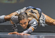 Pro Fitness Star in Warrior Costume. Star pro fitness athlete Ariel Khadr, of Miami, Florida, covorts in a futuristic amazon warrior`s costume as part of her Royalty Free Stock Photo