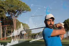 Pro golf player shot the ball Stock Images