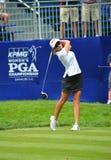 Pro-golfare Paula Creamer Tees av på de KPMG kvinnornas mästerskapet 2016 för PGA på den Sahalee klubbhuset royaltyfri fotografi