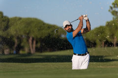 Pro golfer hitting a sand bunker shot. Pro golf player shot ball from sand bunker at course Royalty Free Stock Photo