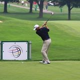 Pro Golfer. Ryan Palmer prepares to hit a drive at the PGA tour Stock Photography