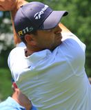 Pro golfer Sergio Garcia. PGA Pro Sergio Garcia watches his ball hit the fairway after making a swing Stock Images