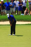 Pro golfer Tiger Wood. S prepares to put the ball at the country clubs PGA golf event Royalty Free Stock Images