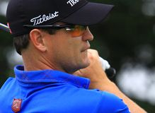 Pro Golfer Zach Johnson. Zach Johnson (Zachary Johnson) is an American professional golfer who won the Masters in 2007 keeps his eyes on his golf ball he just Stock Images
