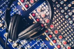 Pro Headphones and Mixer Stock Images