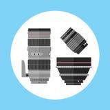 Pro icona dell'attrezzatura della lente di Digital della foto del cinema Immagine Stock