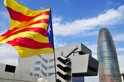 Pro-independence flag in Barcelona, Spain, during the rally in s Royalty Free Stock Photo