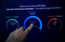 Pro-installationsvälkomnande för Microsoft Windows 10 till den microsoft kanten Arkivfoton