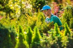 Pro jardinier dans le jardin images stock