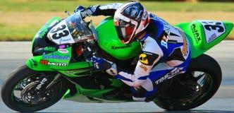 Pro Kawasaki race motorcycle. Pro racer Conner Blevins rides the Kawasaki on the race track royalty free stock image
